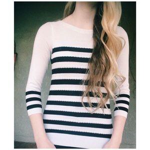 Black white striped textured LOFT shirt XS